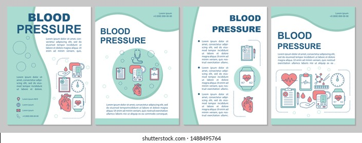 Blood pressure brochure template layout. Systolic, diastolic pressure rate. Flyer, booklet, leaflet print design with linear illustrations. Vector page layouts for annual reports, advertising posters