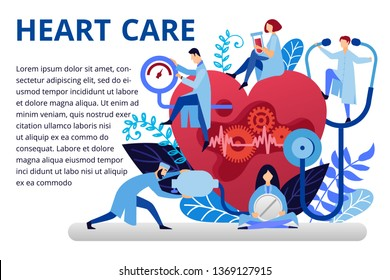 Blood pressure, cardiogram, health monitoring, medicine. Modern flat design concepts for web banners, web sites, printed materials. Creative medicine vector illustration with doctors