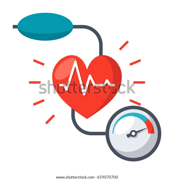 血壓計和心臟的血壓概念,平面向量圖