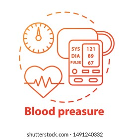 Blood pressure control concept icon. Heart functioning monitoring idea thin line illustration. Systolic and diastolic pressure rate. Vector isolated outline drawing. Editable stroke