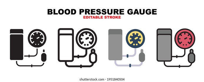 Blood Pressure Gauge icon set with different styles. Icons designed in filled, outline, flat, glyph and line colored. Editable stroke and pixel perfect. Can be used for web, mobile, ui and more.
