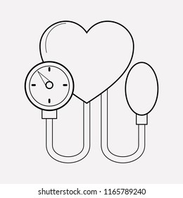 Blood pressure icon line element. Vector illustration of blood pressure icon line isolated on clean background for your web mobile app logo design.