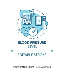 Blood pressure level concept icon. Cardiovascular diseases diagnostics. Cardiac illness, hypertension check up idea thin line illustration. Vector isolated outline RGB color drawing. Editable stroke