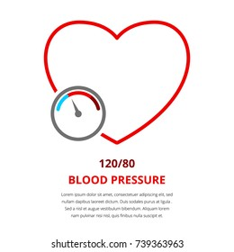 Blood pressure measurement, medical health care concept for cardiology hospital clinic - human heart logo icon and tonometer scale, vector illustration