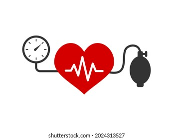 Blood pressure measuring concept. Heart shape with heartbeat line. Systolic and diastolic blood pressure measurement. Control cardiovascular disease risk factor. Vector illustration, flat, clip art.