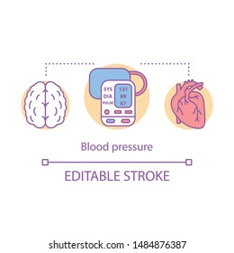 Blood pressure measuring concept icon. Brain, heart functioning monitoring idea thin line illustration. Systolic and diastolic pressure rate. Vector isolated outline drawing. Editable stroke
