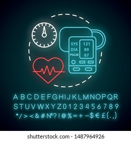 Blood pressure measuring neon light concept icon. Heart functioning monitoring idea. Systolic and diastolic pressure rate. Glowing sign with alphabet, numbers and symbols. Vector isolated illustration