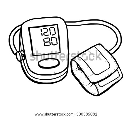 Blood Pressure Monitoring Cartoon Vector Illustration Stock Vector