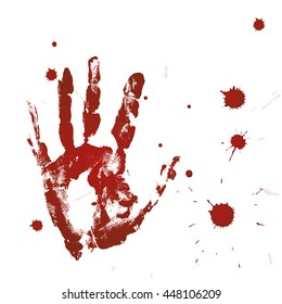 Blood print of a hand and bloodstains
