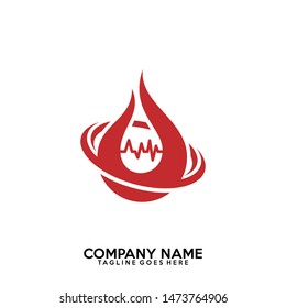 Blood & Pulse logo vector.  Blood donation vector