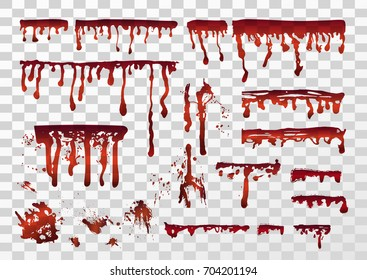 Blood realistic dripping drops, splatters, spray, stains, smears set. Vector illustration isolated on the transparent background.