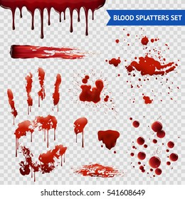 Blood spatters realistic bloodstains patterns set of smears splashes drippings drops and handprint with transparent background vector illustration