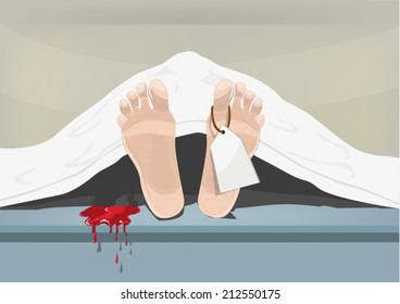 Blood spills out from a dead person. Feet with blank label.