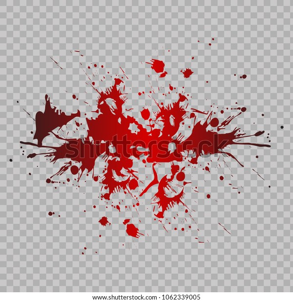 Blood splashed isolated on transparent background. Vector