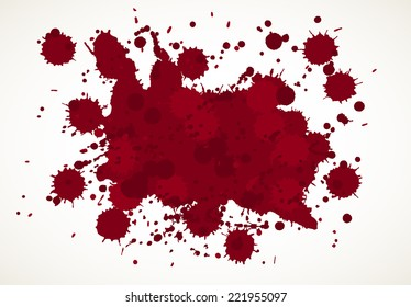 Blood splatter background, isolated on white.