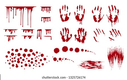 Blood splatter, bleed stains and handprint. Horror dirty bloody drop leak.  Vector isolated illustration.