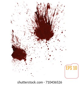 A blood splatter graphic on white. Vector.
