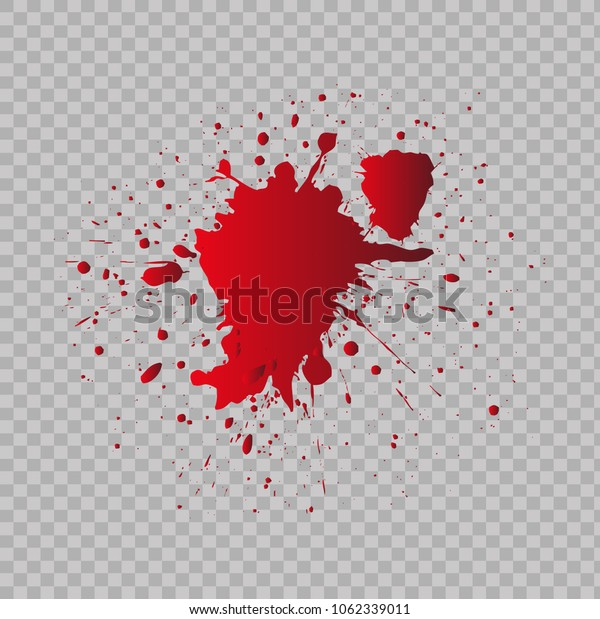 Blood splatter on transparent background.