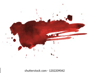 Blood splatter painted art on white for halloween design. Red dripping blood drop watercolor. Vector illustration backdrop