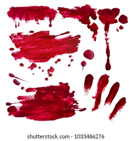 Blood splatter set painted vector isolated on white for halloween design. Red dripping blood drop watercolor