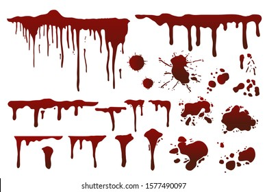 Blood splatters collection isolated on white. Vector illustration.