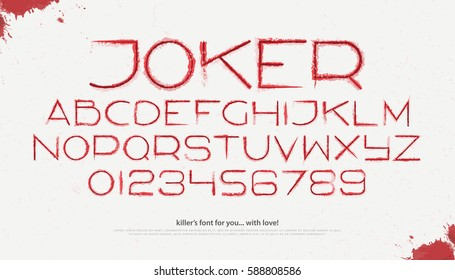 blood style alphabet letters and numbers over white background. vector, assassin font type design. killer sloppy characters collection. horror film typesetting template on grunge paper texture