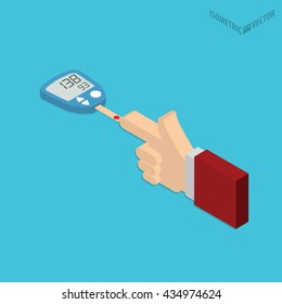 Blood sugar level monitoring with glucose meter flat design. Check your blood glucose level at home conceptual illustration. Diabetes screening.