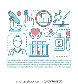 Blood sugar test article page vector template. Diabetes prevention. Brochure, magazine, booklet design element, linear icons, text box. Print design. Concept illustrations with text space