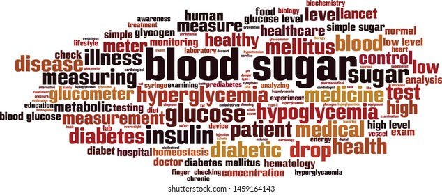 Blood sugar word cloud concept. Collage made of words about blood sugar. Vector illustration