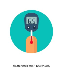 Blood test with finger. Glucometer icon isolated. Testing glucose. Blood sugar readings. Medical measurement apparat. Healthcare monitoring. Diagnostic equipment. Vector illustration flat design.