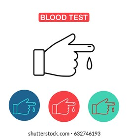 Blood test icon. Blood from a finger icon. First aid, diagnostic, blood test. Medicine and Health symbol for info graphics, websites and print media. Contour simple clinic icon.