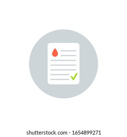 Blood test result lab report health vector icon. Medical checklist patient paperwork, blood test.
