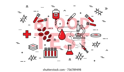 Blood test vector illustration. Medical blood research and examination line art concept. Blood drop and medical equipment graphic design.