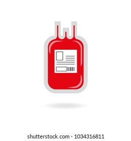 Blood transfusion bag vector illustration  isolated on white background. Blood donation
