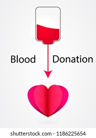 Blood transfusion. Give blood save life concept. Vector illustration.