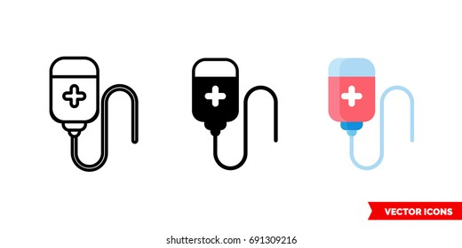 Blood transfusion icon of 3 types: color, black and white. Isolated vector sign symbol.