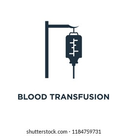 Blood transfusion icon. Black filled vector illustration. Blood transfusion symbol on white background. Can be used in web and mobile.