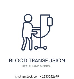 Blood transfusion icon. Blood transfusion linear symbol design from Health and Medical collection. Simple outline element vector illustration on white background