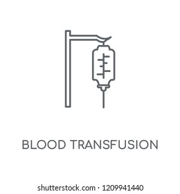 Blood transfusion linear icon. Blood transfusion concept stroke symbol design. Thin graphic elements vector illustration, outline pattern on a white background, eps 10.