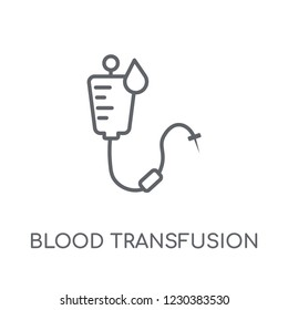 Blood transfusion linear icon. Modern outline Blood transfusion logo concept on white background from Health and Medical collection. Suitable for use on web apps, mobile apps and print media.