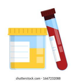 Blood and urine samples vector isolated. Medical analysis in laboratory. Test tube and container.