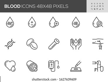 Blood Vector Line Icons Set. Hematology, Blood Cell, Vessel, DNA, Blood Group, RH Factor, Blood Test. Editable Stroke. 48x48 Pixel Perfect.