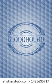 Bloodhound blue badge with geometric pattern. Vector Illustration. Detailed.