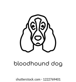 Bloodhound dog icon. Trendy modern flat linear vector Bloodhound dog icon on white background from thin line dogs collection, editable outline stroke vector illustration