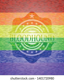 Bloodhound emblem on mosaic background with the colors of the LGBT flag