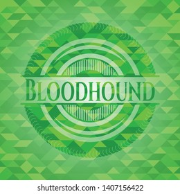 Bloodhound green emblem with mosaic ecological style background. Vector Illustration. Detailed.