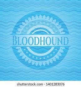 Bloodhound light blue water wave emblem. Vector Illustration. Detailed.