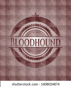 Bloodhound red emblem or badge with abstract geometric pattern background. Seamless.