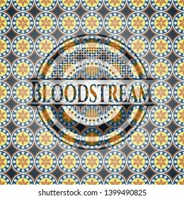 Bloodstream arabic badge. Arabesque decoration.