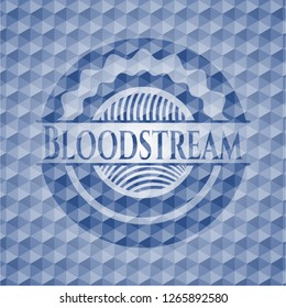 Bloodstream blue badge with geometric pattern.